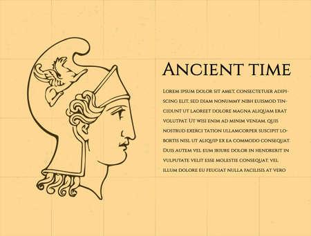 yelllow: Ancient man in greek helmet on yelllow background