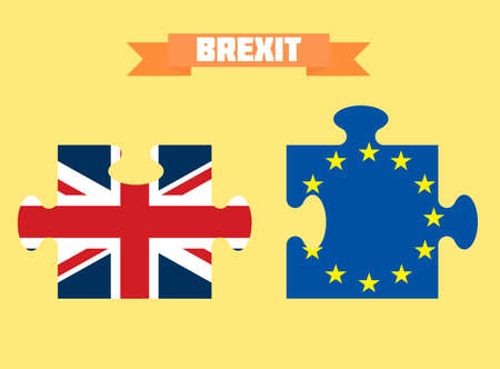 Great Britain and European Union flags as puzzle pieces. Brexit concept
