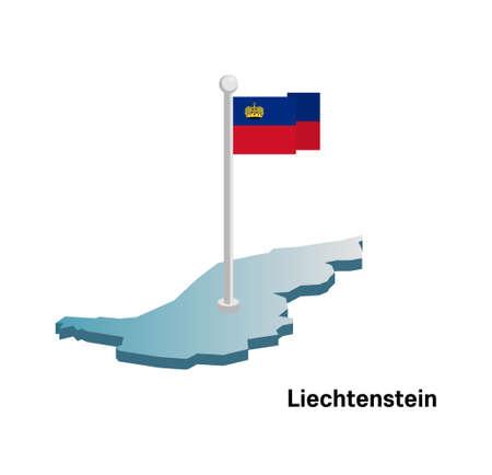 lichtenstein: Lichtenstein map with flag Illustration