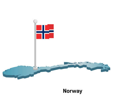 norway flag: Norway map with flag