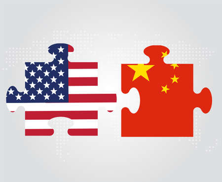 geopolitics: USA and China relation conceptual illustration. United States and China flags as puzzle pieces