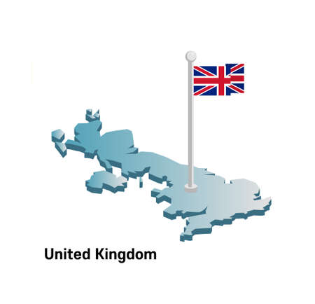 United Kingdom map with flag Иллюстрация