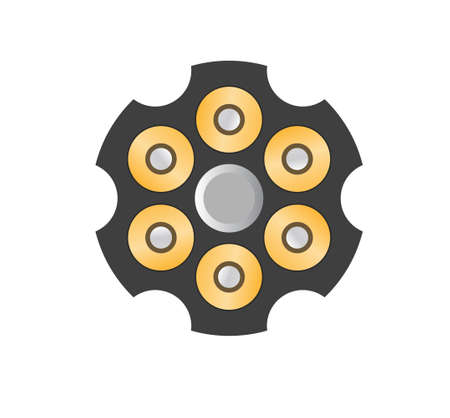 Revolver cylinder with bullets vector icon
