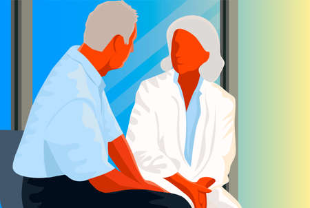 Female doctor is talking to patient into the hospital room Illustration