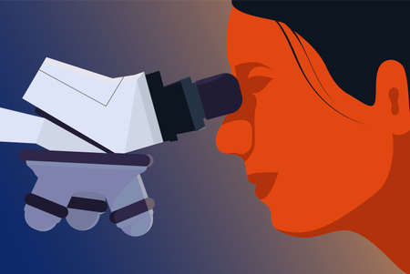 Medical research illustration. Female scientist is looking into the microscope