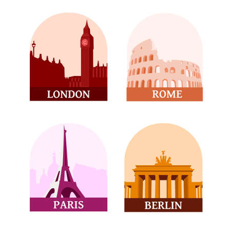 Travelling sights of the famous european cities: London, Paris, Berlin and Rome. Icons of big ben, coliseum, eiffel tower, brandenburg gate