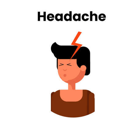 Headache icon. Vector flat design illustration of the white young man suffering from a severe pain Ilustracja