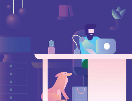 Designer is working at home in the night with the dog sitting around and staring at the man Ilustracja