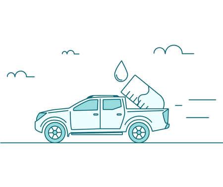 Chemistry supplier concept. Car is carrying a lab flask Illusztráció