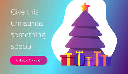 Christmass tree banner design Ilustracja