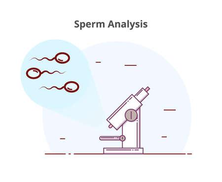 Sperm analysis vector illustration