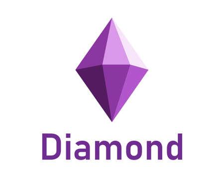 Diamond  design. A purple 3d diamond isolated on white