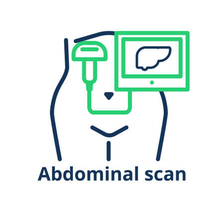 Abdominal scan icon. Illustration of the female tummy with ultrasound probe capturing the liver
