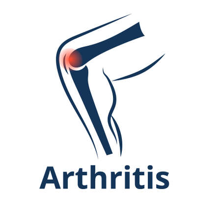 Knee arthritis vector icon. Illustration of the bended leg with the focus on the inflamed knee joint