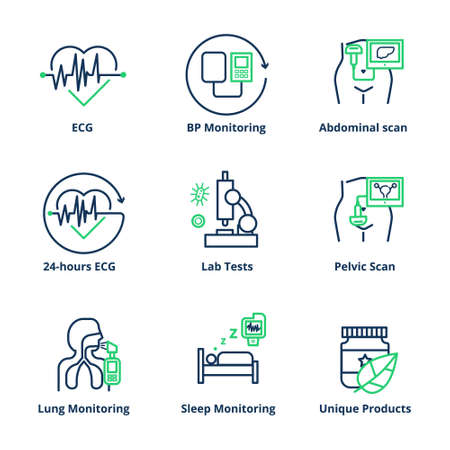 Medical services icon. Ultrasound scan, lab, spirometry, and ecg medical icon set