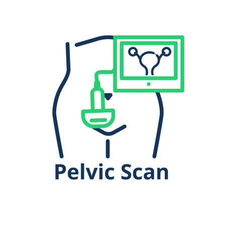 Pelvic scan icon. Conceptual Illustration of the female tummy with ultrasound probe capturing the uteruds