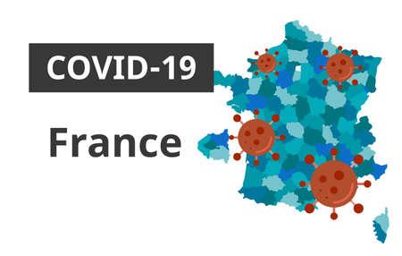 Covid-19 Germany banner art. Germany map with coronavirus hummering around
