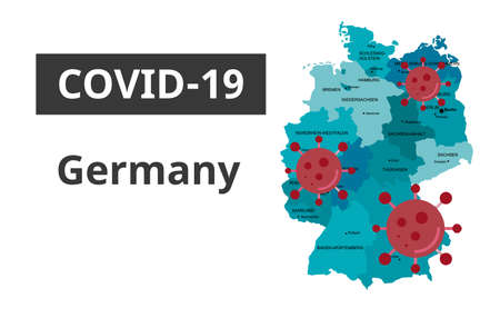 Covid-19 Germany banner art. Germany map with coronavirus hanging around Ilustracja