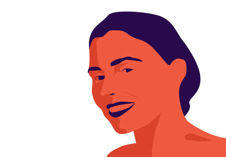Vector illustration of the beautiful female face isolated on white. Woman smiling at camera