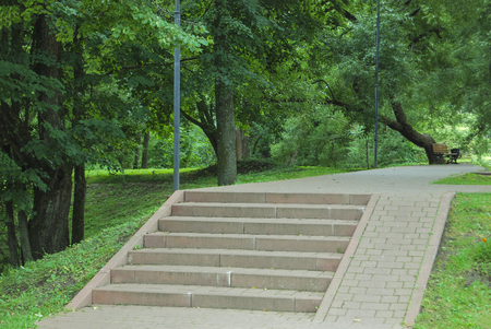 Gray concrete staircase in the park. Bottom-up view