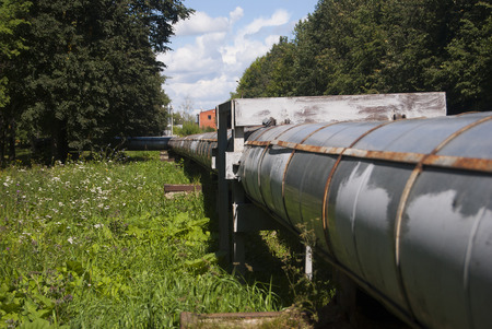 Large pipe for heat transfer. City communications. The heating plant is superficial.