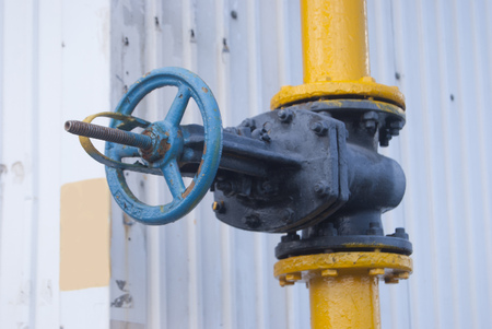 The gas pipe valve is close-up. Stock Photo