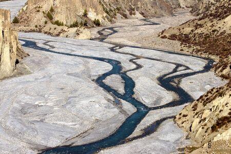 Mountain river with tributary.  Nepal, Annapurna trek.