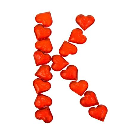 Alphabet Valentines Day. Letter K.  Isolated on white background. Reklamní fotografie