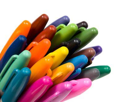 Multicoloured soft-tip pen. Isolated on white background. photo