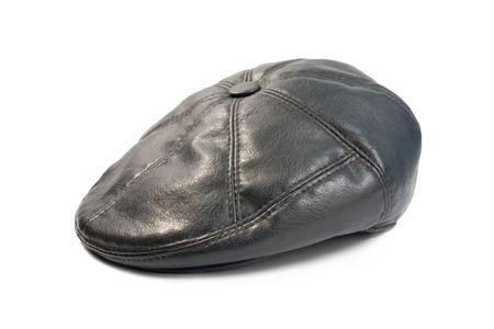 kepi: Leather cap.  Isolated on white background.