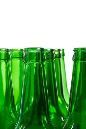 Necks of glass beer bottles photo