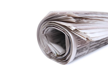 Bunch newspaper. Isolated on white background. photo