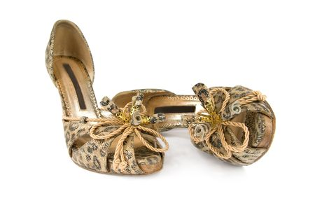 Elegant womens shoes. Isolated on white background. photo