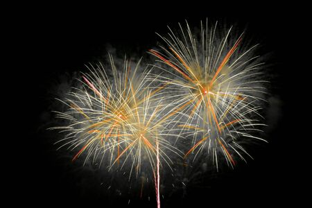 outbreaks: Outbreaks of fireworks in the night sky Stock Photo