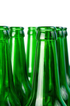 Necks of glass beer bottles