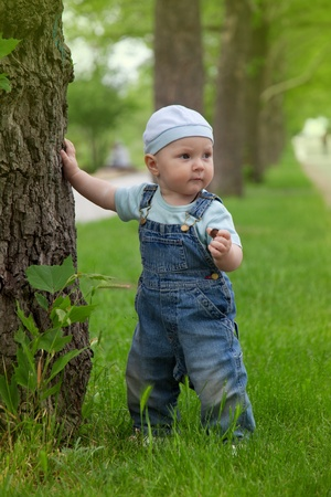 A little boy walks in the park Stock Photo