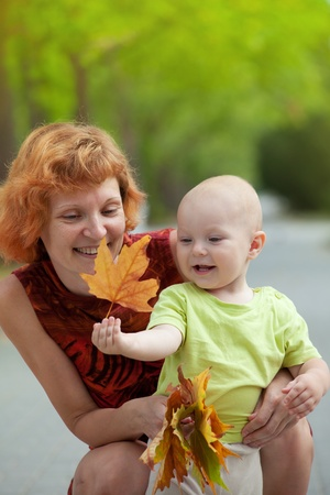 Young mother and son walking in the park and collecting fall leaves Stock Photo - 10394750