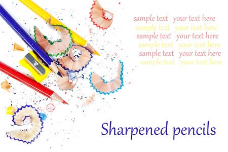 Sharpened colored pencils. Isolated on white background photo