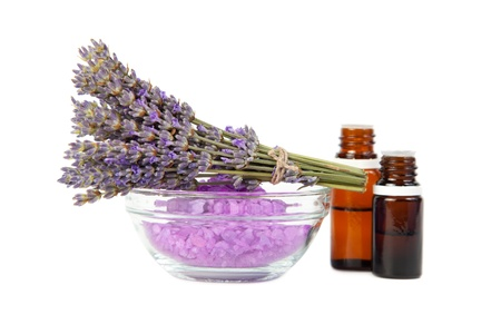 Spa background. Components for a spa therapy, lavender, aroma oils, sea salt for bath