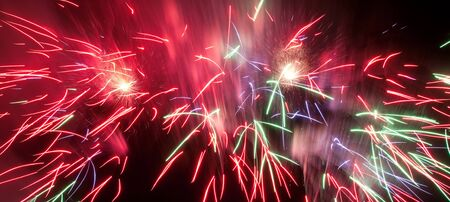 Volleys of beautiful fireworks in the night sky  photo