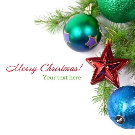 Christmas decorations and fir branch isolated on white background Stock Photo - 11570891