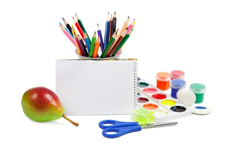 School Accessories Isolated on white background  Imagens