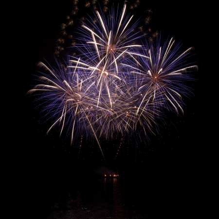 firework display: A beautiful firework over the water in the night sky