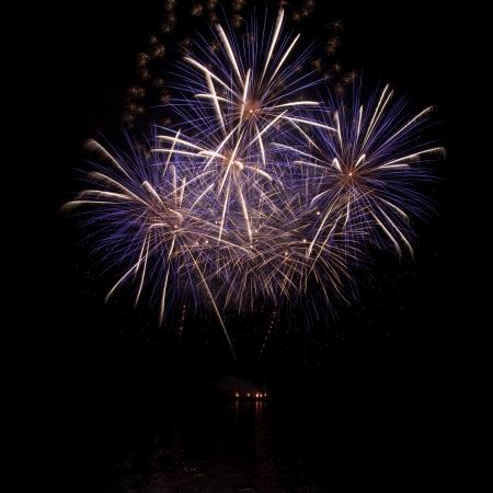 fuegos artificiales: Un hermoso fuego artificial sobre el agua en el cielo nocturno
