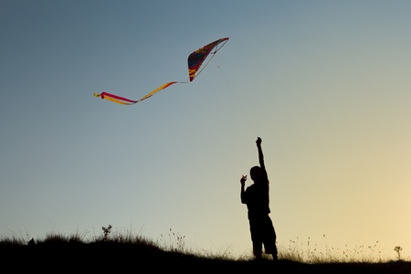A boy flies a kite in the sky at sunset