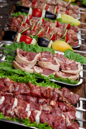 Meat and vegetables on skewers for a picnic photo