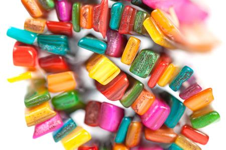bijou: Multi-colored stones in the Bijou  Isolated on white background Stock Photo