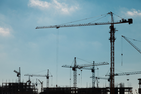 Silhouettes of construction cranes against a blue sky photo