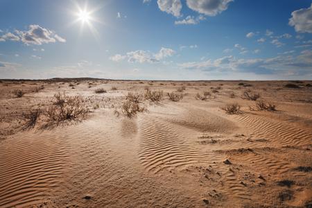 horizon: Paisaje. El desierto bajo un cielo azul con nubes Foto de archivo