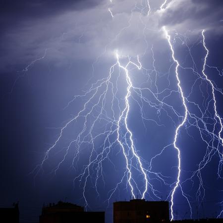 blue lightning: Branched lightning in the night sky
